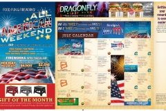 Tri-fold self-mailing Newsletter interior, showing monthly casino promo, event calendar and ads for the various casino venues.