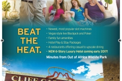 """Beat the Heat"" Branded ad, adaptable for different publications. Created in InDesign. Aimed at getting people to come north from the Summer heat of Phoenix."