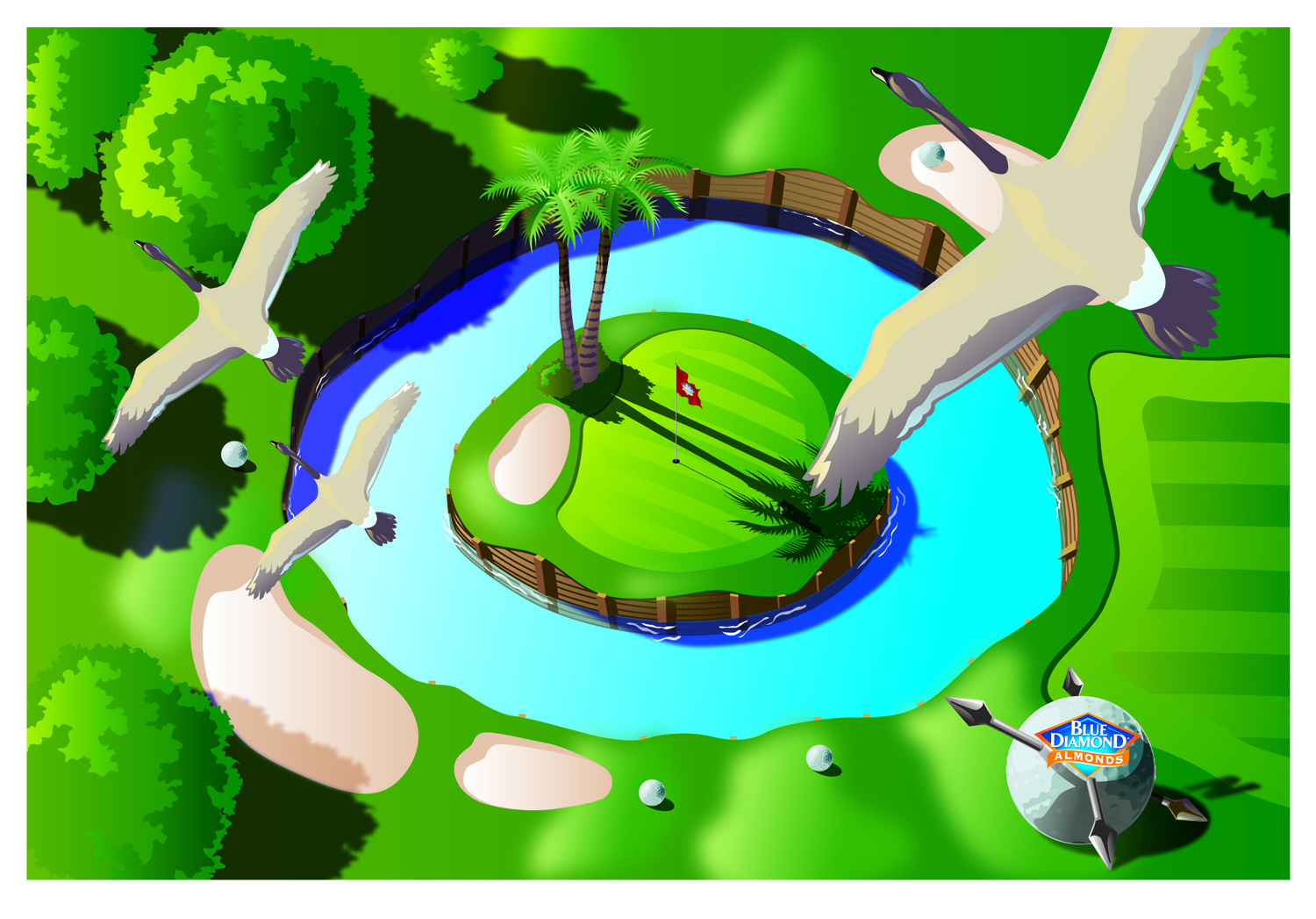 Golf Overhead- Part of an animated game for Blue Diamond Almonds.