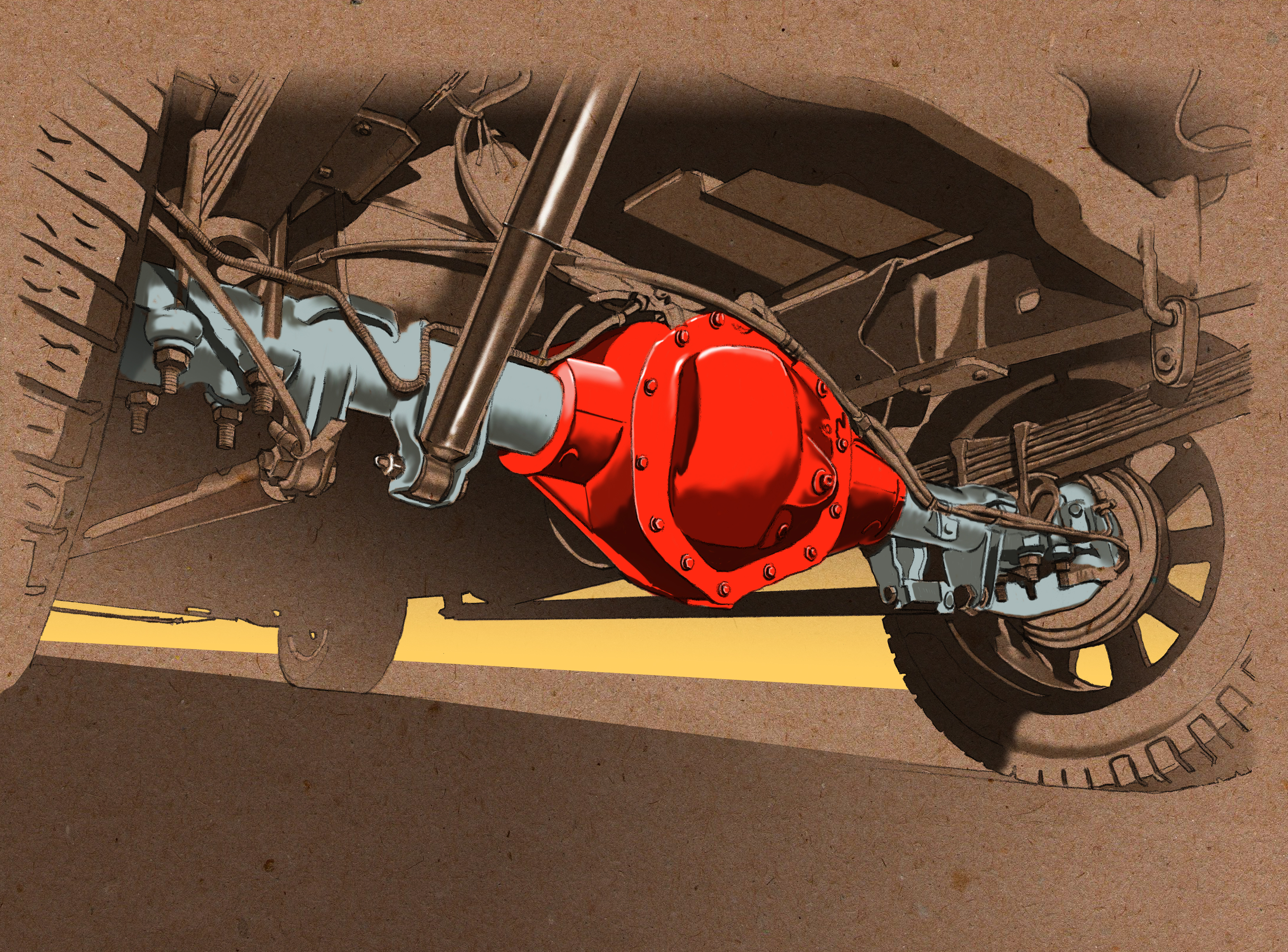 A rear axle. Painted in Photoshop, with pencil drawing.