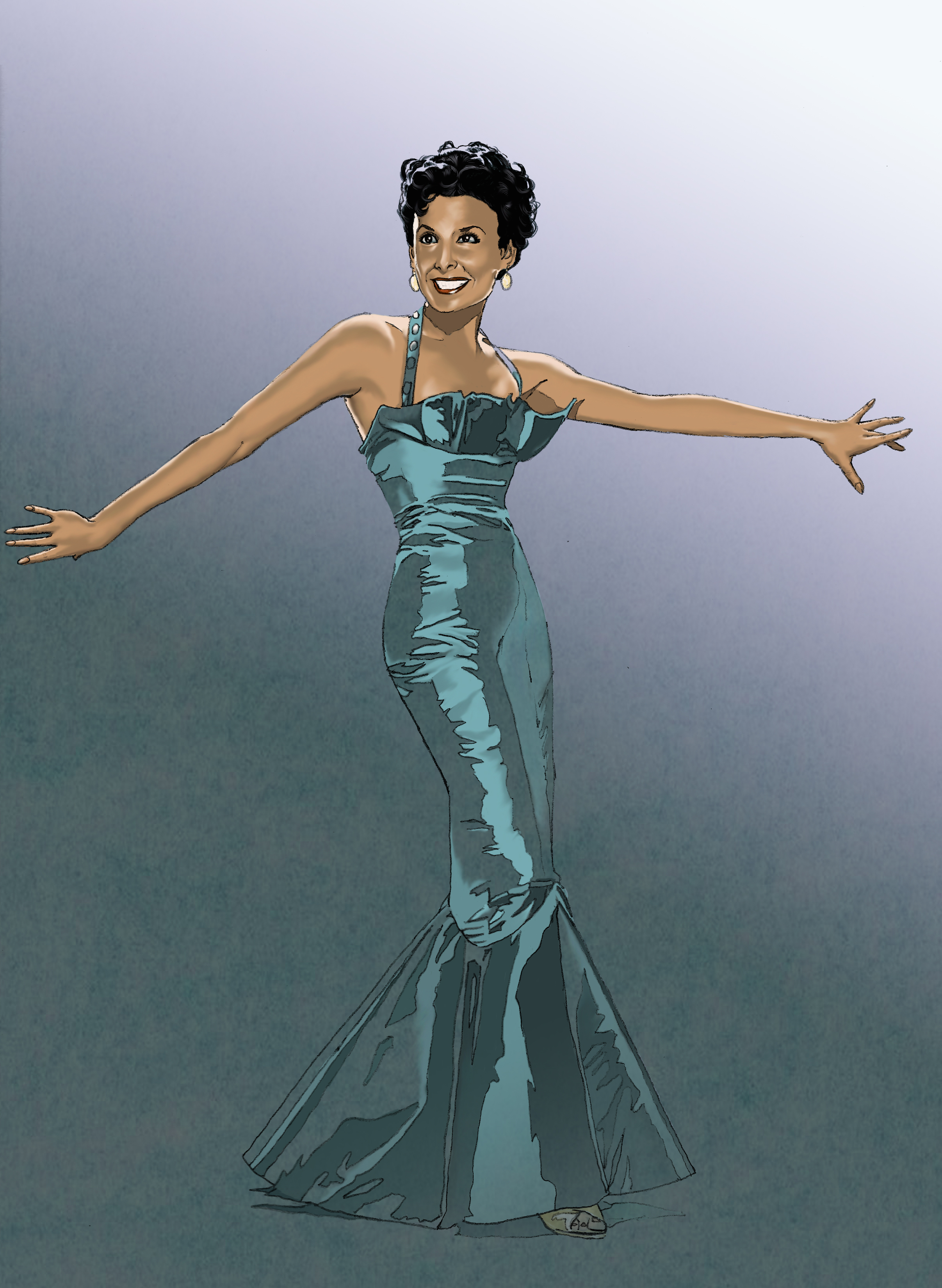 Digital painting of late singer-actress Lena Horne. Painted in Photoshop, with pencil drawing.