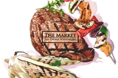 Created for The Market, Fairfield, CT. Watercolor with Photoshop type on steak.