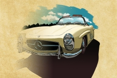 Mercedes Benz classic convertible. Painted in Photoshop, with pencil drawing.