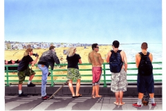 Monday at the Pier, gouache, collection of the artist.