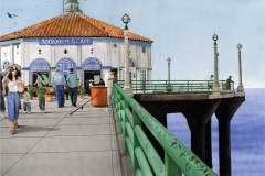Saturday at the Pier, gouache, collection of the artist.